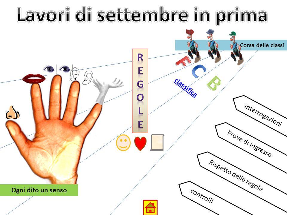 Corsa delle classi interrogazioni Prove di ingresso Rispetto delle regole controlli Ogni dito un senso classifica