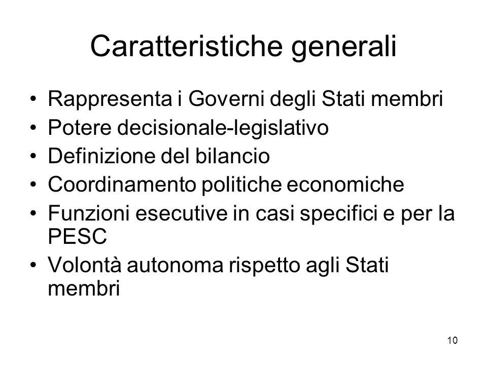 10 Caratteristiche generali Rappresenta i Governi degli Stati membri Potere decisionale-legislativo Definizione del bilancio Coordinamento politiche e