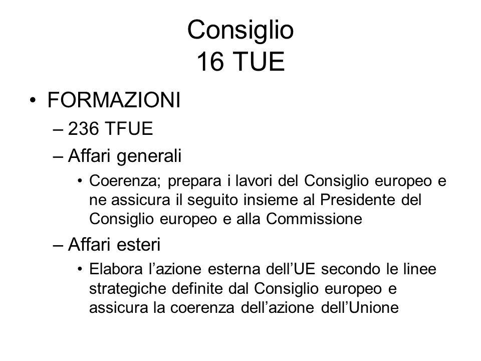 Consiglio 16 TUE FORMAZIONI –236 TFUE –Affari generali Coerenza; prepara i lavori del Consiglio europeo e ne assicura il seguito insieme al Presidente