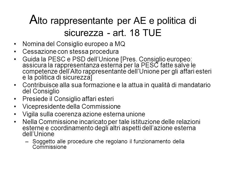 A lto rappresentante per AE e politica di sicurezza - art. 18 TUE Nomina del Consiglio europeo a MQ Cessazione con stessa procedura Guida la PESC e PS