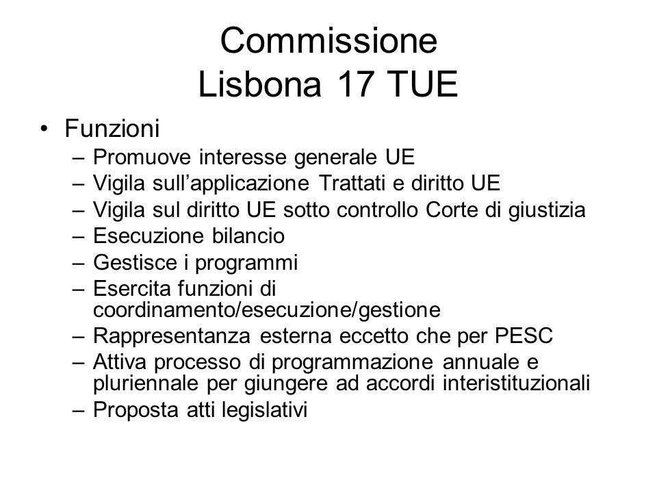Commissione Lisbona 17 TUE Funzioni –Promuove interesse generale UE –Vigila sullapplicazione Trattati e diritto UE –Vigila sul diritto UE sotto contro