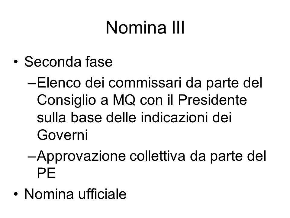 Nomina III Seconda fase –Elenco dei commissari da parte del Consiglio a MQ con il Presidente sulla base delle indicazioni dei Governi –Approvazione co