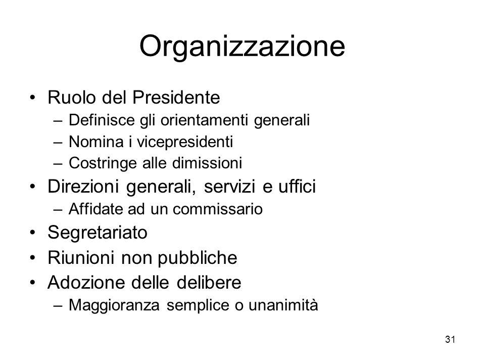 31 Organizzazione Ruolo del Presidente –Definisce gli orientamenti generali –Nomina i vicepresidenti –Costringe alle dimissioni Direzioni generali, se