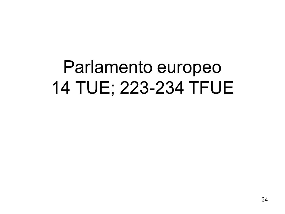 34 Parlamento europeo 14 TUE; 223-234 TFUE