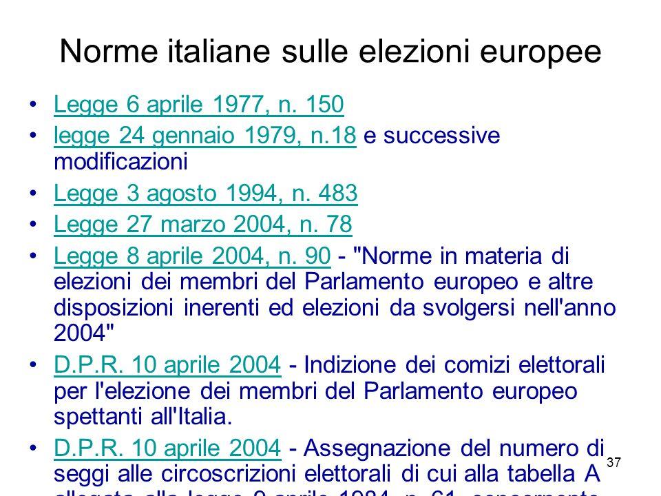 37 Norme italiane sulle elezioni europee Legge 6 aprile 1977, n. 150 legge 24 gennaio 1979, n.18 e successive modificazionilegge 24 gennaio 1979, n.18