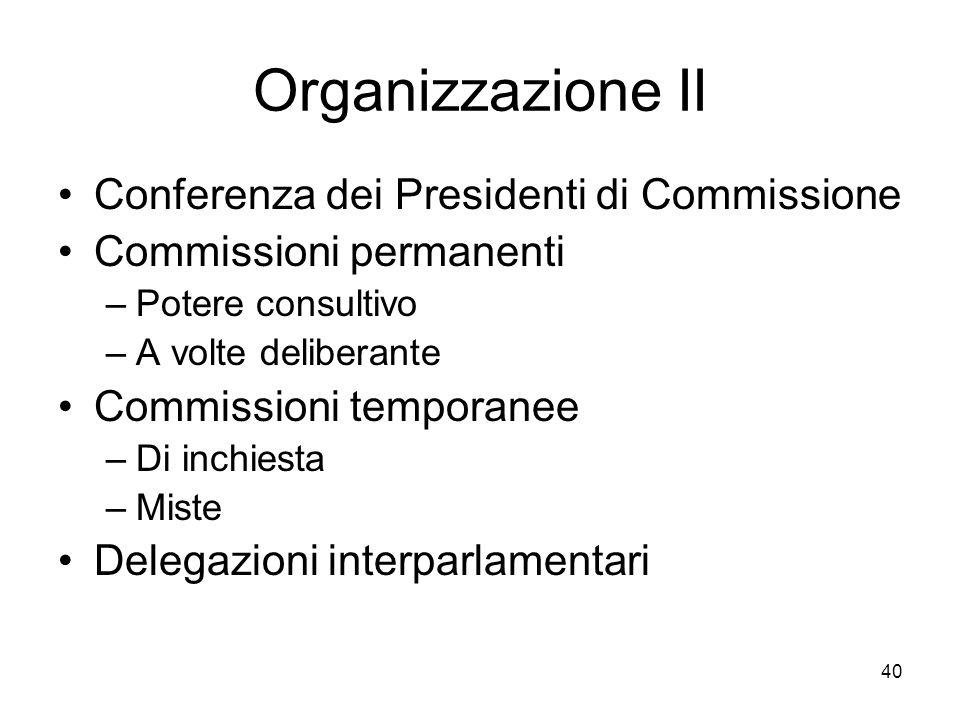 40 Organizzazione II Conferenza dei Presidenti di Commissione Commissioni permanenti –Potere consultivo –A volte deliberante Commissioni temporanee –D