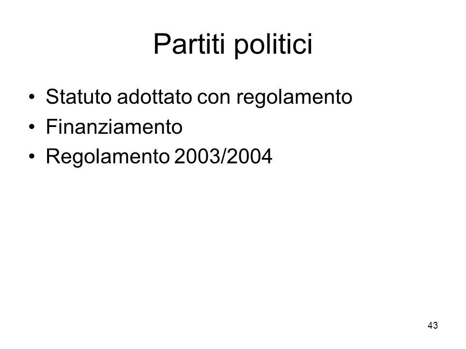 43 Partiti politici Statuto adottato con regolamento Finanziamento Regolamento 2003/2004