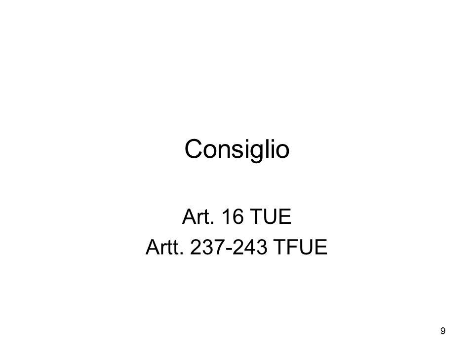 9 Consiglio Art. 16 TUE Artt. 237-243 TFUE
