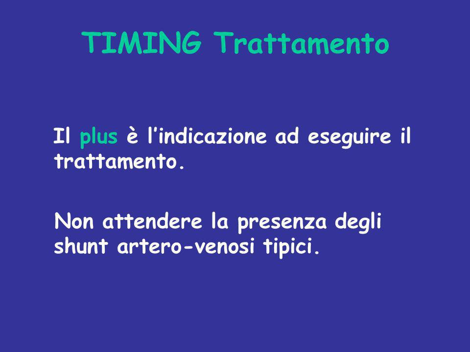TIMING Trattamento Il plus è lindicazione ad eseguire il trattamento. Non attendere la presenza degli shunt artero-venosi tipici.