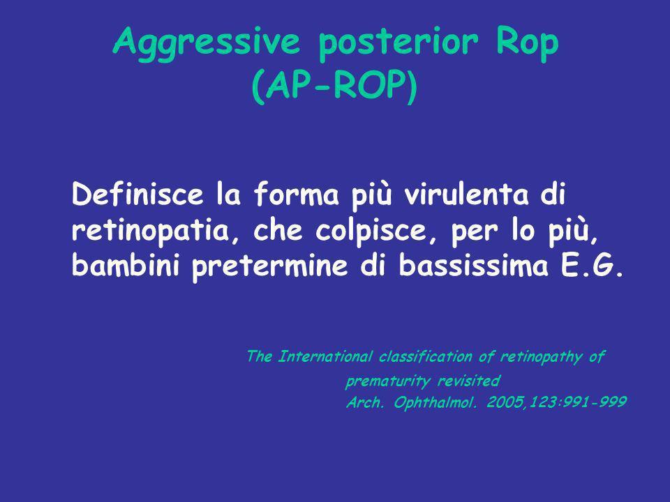 Aggressive posterior Rop (AP-ROP ) Definisce la forma più virulenta di retinopatia, che colpisce, per lo più, bambini pretermine di bassissima E.G. Th
