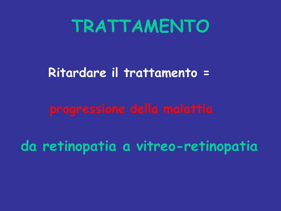 TRATTAMENTO Ritardare il trattamento = progressione della malattia da retinopatia a vitreo-retinopatia