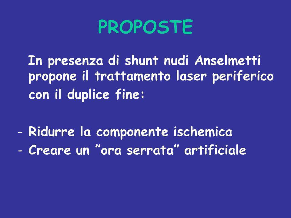 PROPOSTE In presenza di shunt nudi Anselmetti propone il trattamento laser periferico con il duplice fine: -Ridurre la componente ischemica -Creare un
