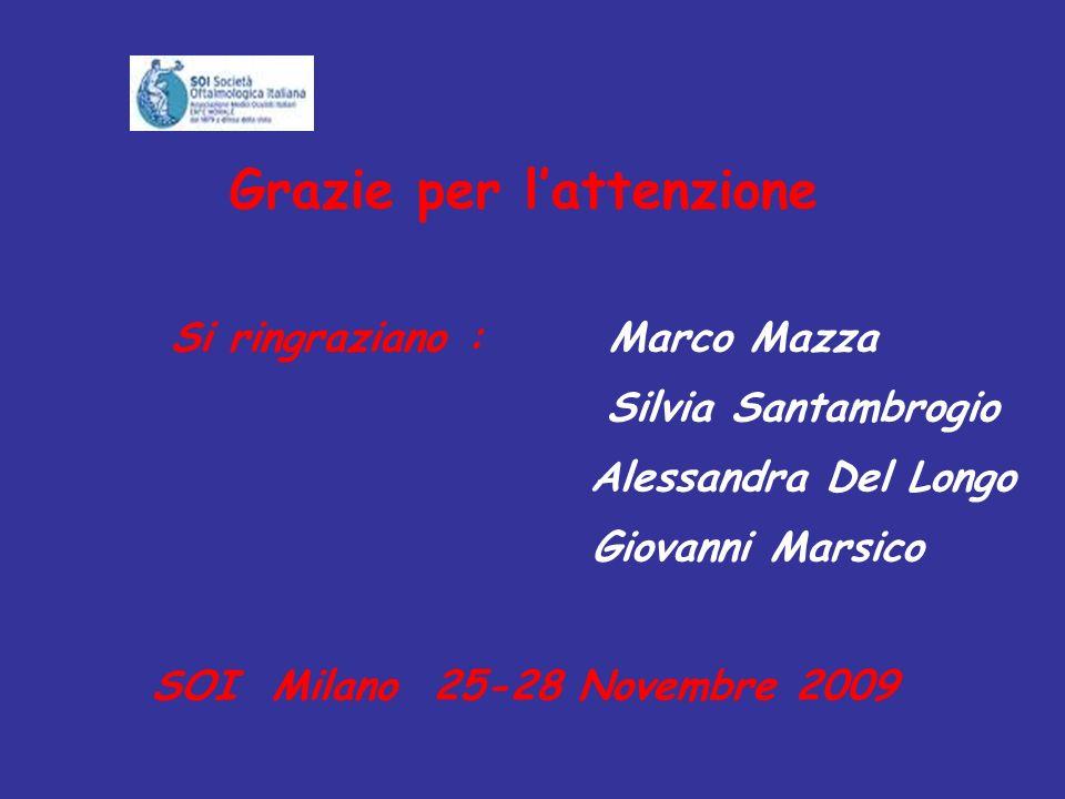 Grazie per lattenzione Si ringraziano : Marco Mazza Silvia Santambrogio Alessandra Del Longo Giovanni Marsico SOI Milano 25-28 Novembre 2009