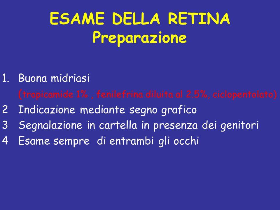 ESAME DELLA RETINA Preparazione 1.Buona midriasi ( tropicamide 1%, fenilefrina diluita al 2.5%, ciclopentolato) 2Indicazione mediante segno grafico 3S