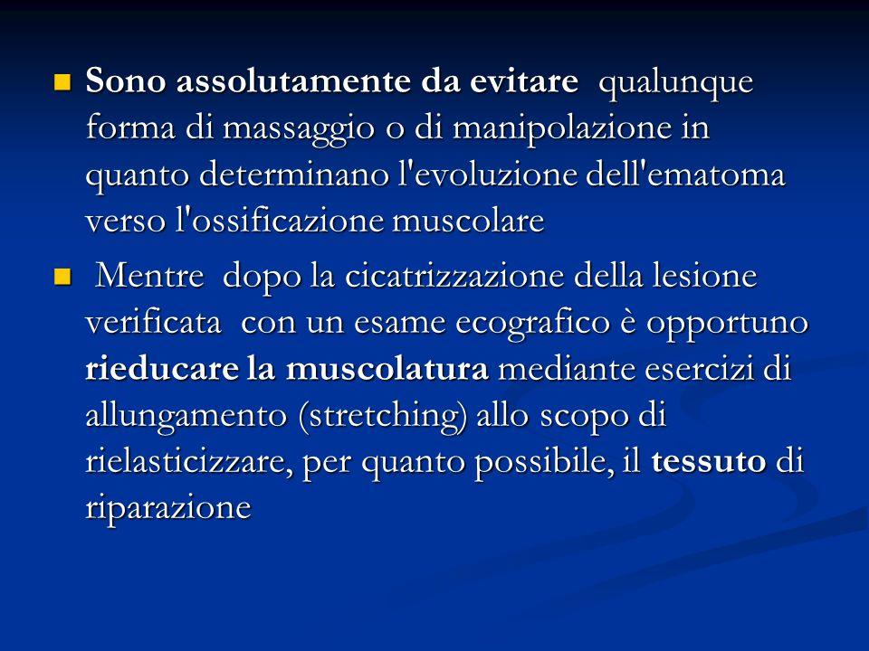Sono assolutamente da evitare qualunque forma di massaggio o di manipolazione in quanto determinano l'evoluzione dell'ematoma verso l'ossificazione mu