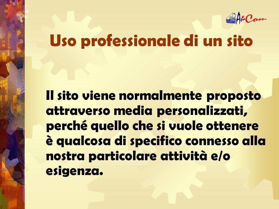 Uso professionale di un sito Luso professionale di un sito, nel 90% dei casi, esula dalla ricerca tramite motore.