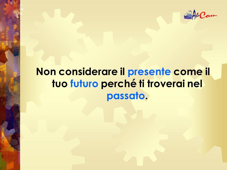 Non considerare il presente come il tuo futuro perché ti troverai nel passato.