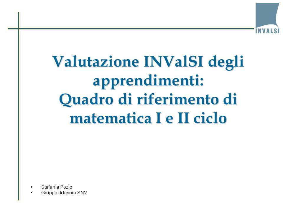 Valutazione INValSI degli apprendimenti: Quadro di riferimento di matematica I e II ciclo Stefania Pozio Gruppo di lavoro SNV