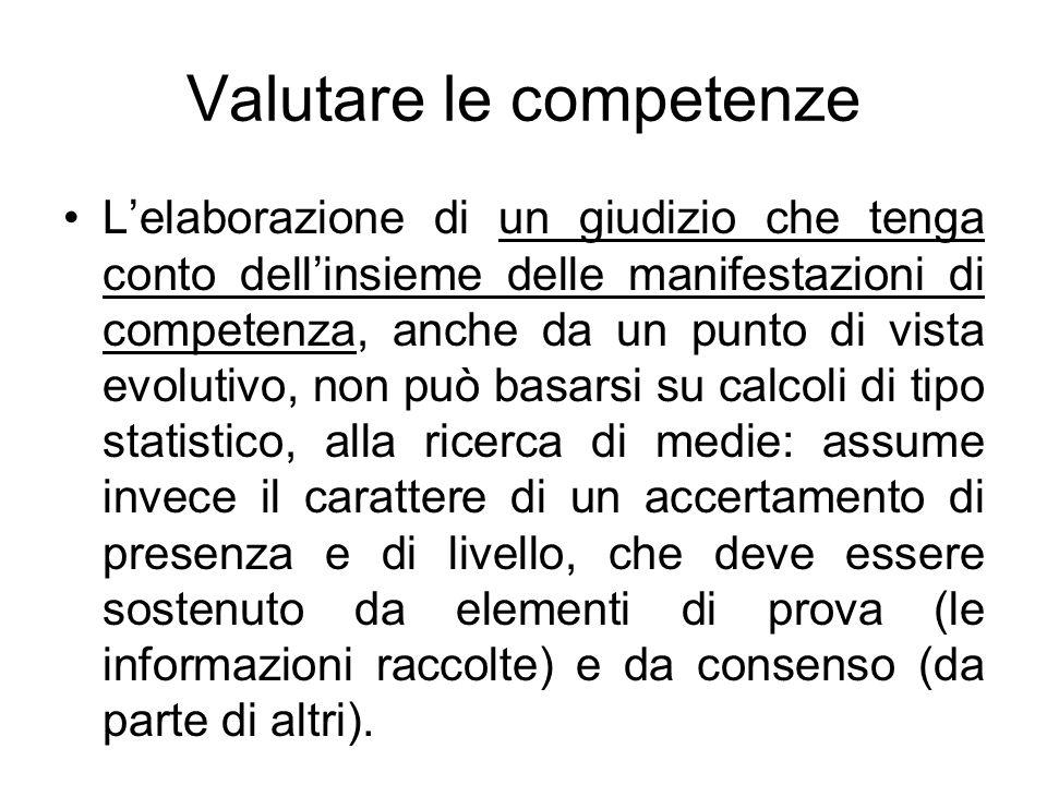 Valutare le competenze Lelaborazione di un giudizio che tenga conto dellinsieme delle manifestazioni di competenza, anche da un punto di vista evoluti