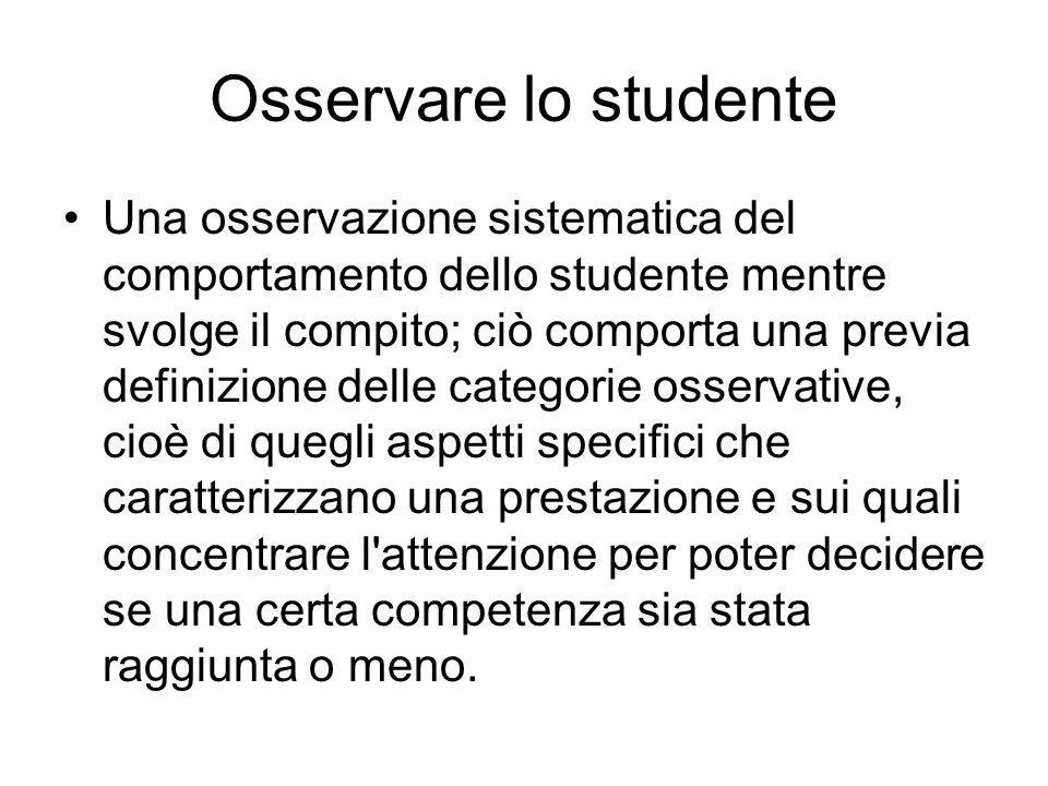 Osservare lo studente Una osservazione sistematica del comportamento dello studente mentre svolge il compito; ciò comporta una previa definizione dell