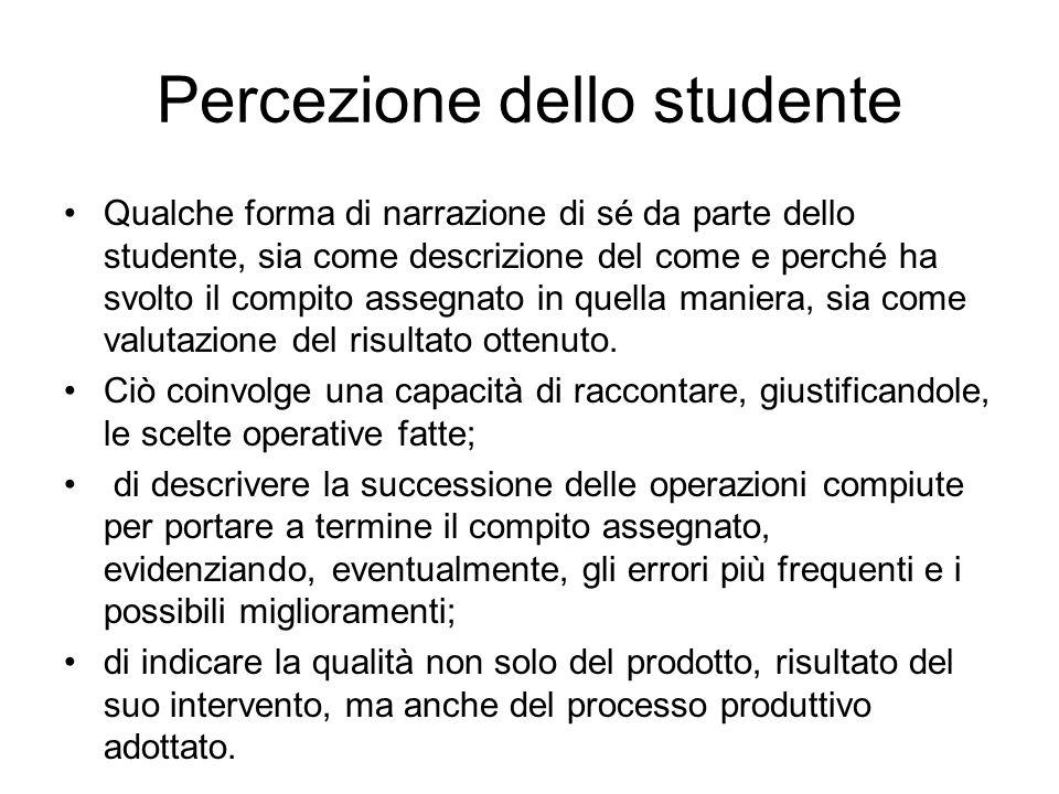 Percezione dello studente Qualche forma di narrazione di sé da parte dello studente, sia come descrizione del come e perché ha svolto il compito asseg