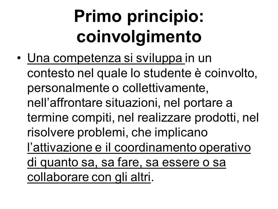 Primo principio: coinvolgimento Una competenza si sviluppa in un contesto nel quale lo studente è coinvolto, personalmente o collettivamente, nellaffr