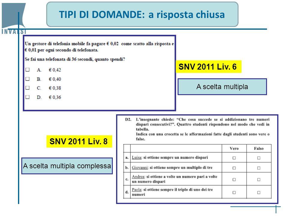 TIPI DI DOMANDE: a risposta chiusa SNV 2011 Liv. 6 A scelta multipla SNV 2011 Liv. 8 A scelta multipla complessa