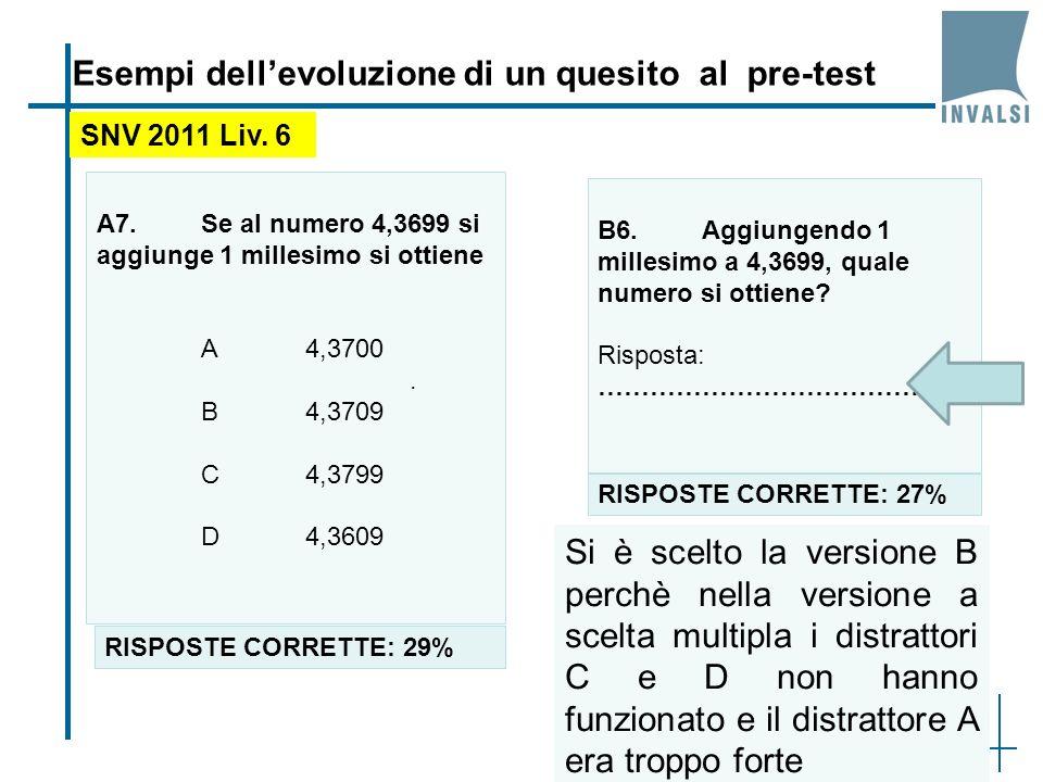 41 Esempi dellevoluzione di un quesito al pre-test A7.Se al numero 4,3699 si aggiunge 1 millesimo si ottiene A4,3700.