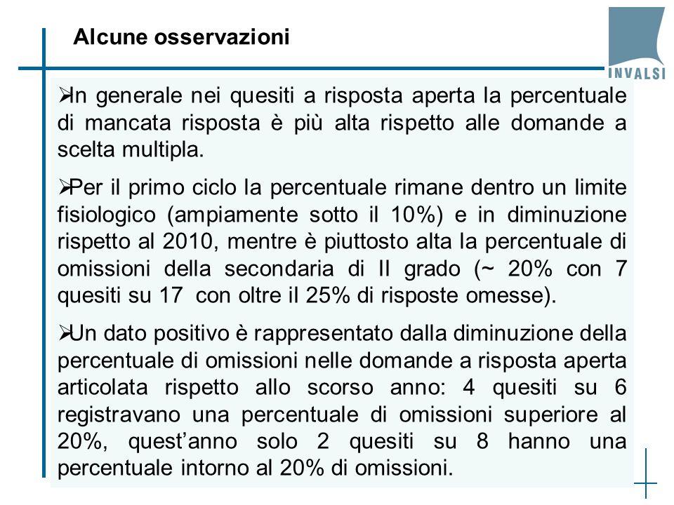 48 In generale nei quesiti a risposta aperta la percentuale di mancata risposta è più alta rispetto alle domande a scelta multipla.