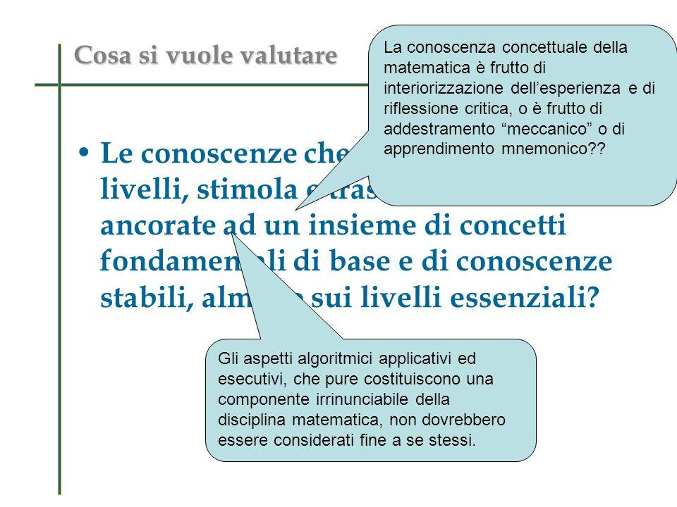Cosa si vuole valutare Le conoscenze che la scuola, ai diversi livelli, stimola e trasmette, sono ben ancorate ad un insieme di concetti fondamentali