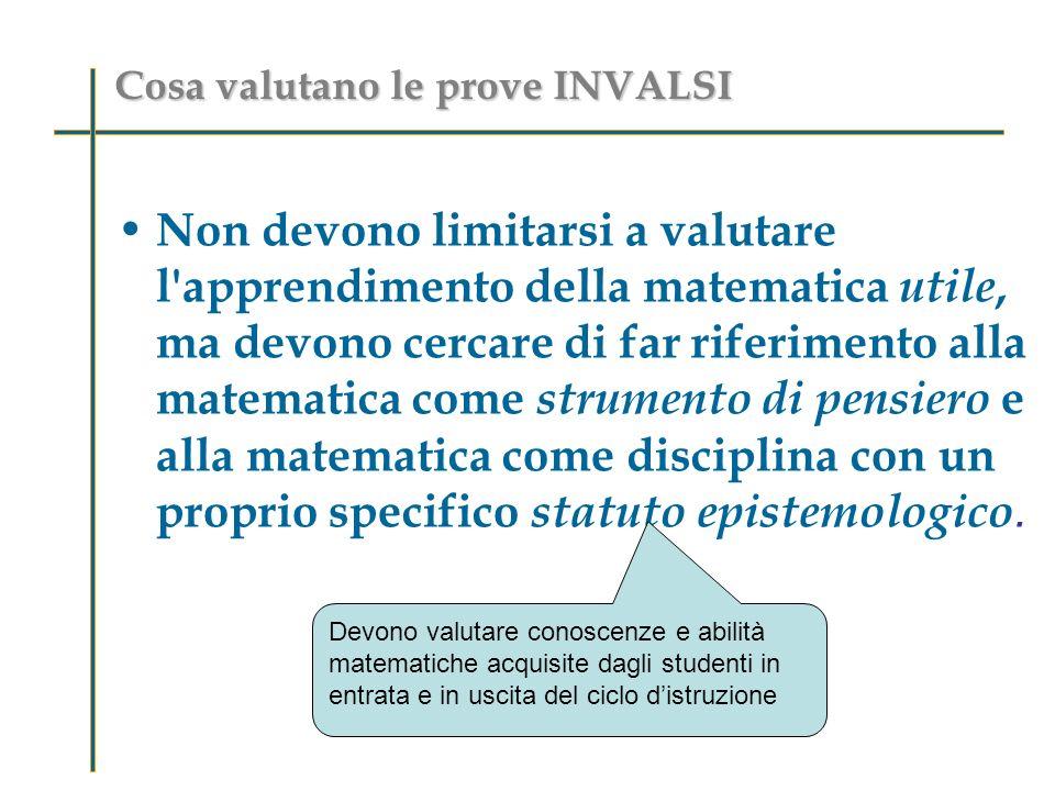 Cosa valutano le prove INVALSI Non devono limitarsi a valutare l apprendimento della matematica utile, ma devono cercare di far riferimento alla matematica come strumento di pensiero e alla matematica come disciplina con un proprio specifico statuto epistemologico.