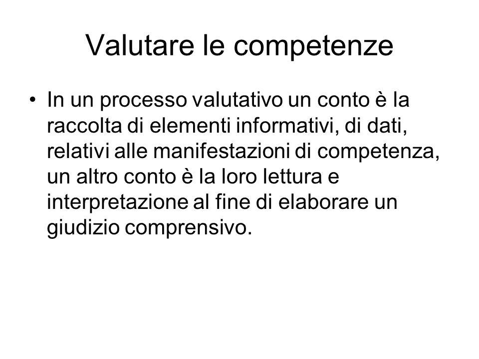 Valutare le competenze In un processo valutativo un conto è la raccolta di elementi informativi, di dati, relativi alle manifestazioni di competenza,