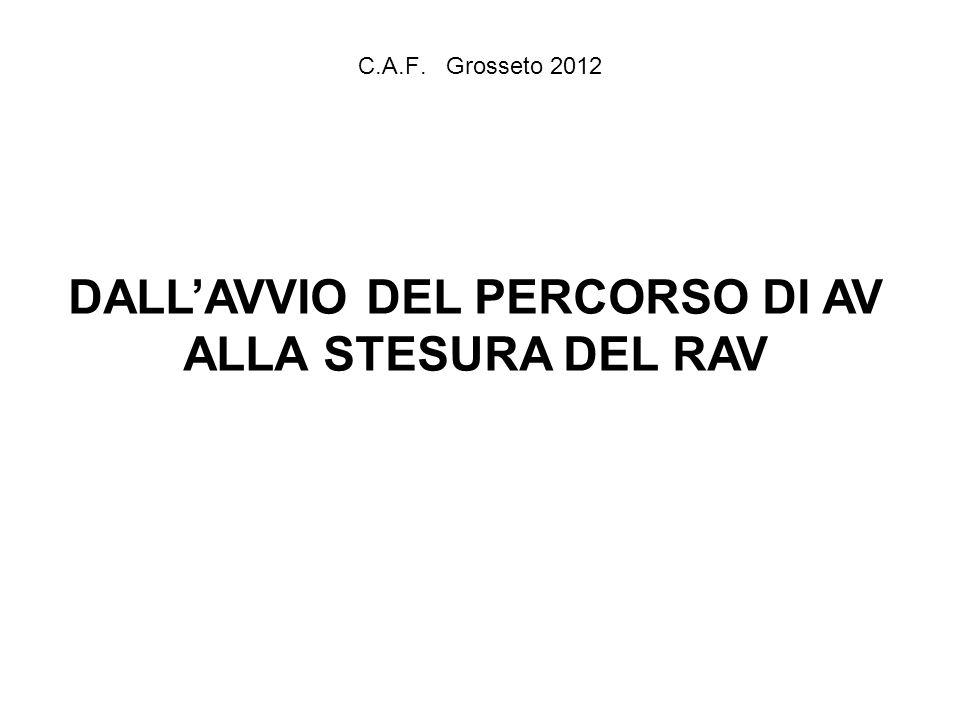 C.A.F. Grosseto 2012 DALLAVVIO DEL PERCORSO DI AV ALLA STESURA DEL RAV