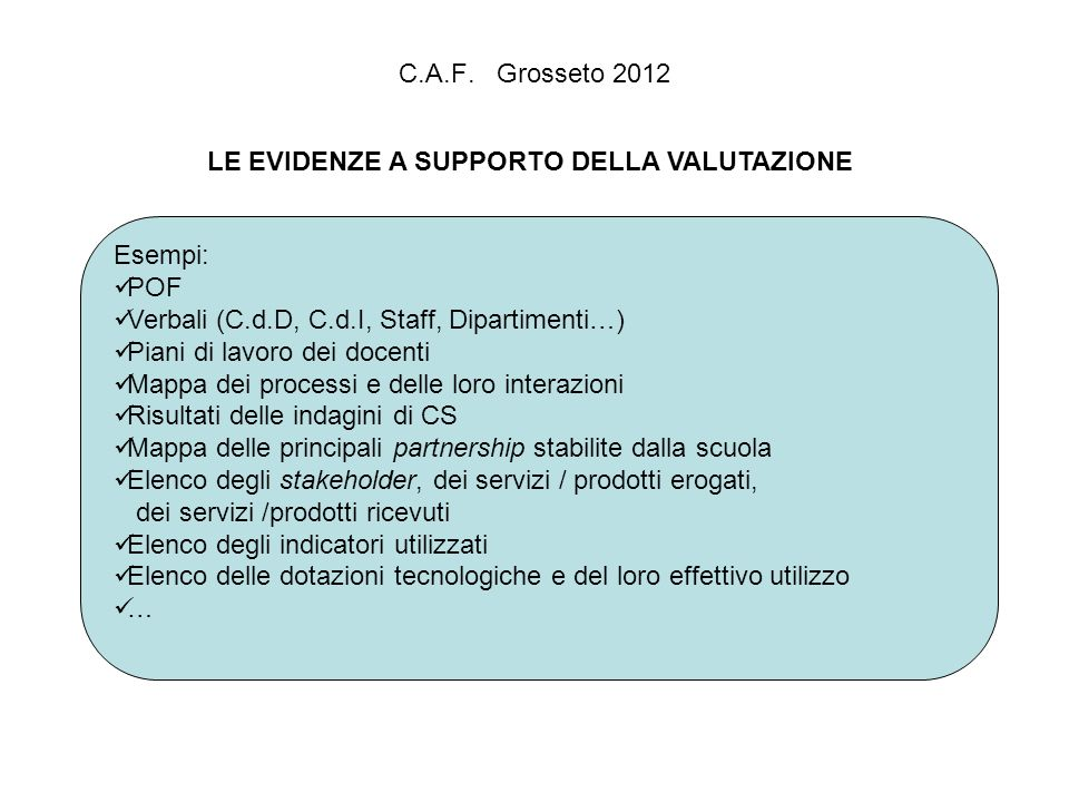 C.A.F. Grosseto 2012 LE EVIDENZE A SUPPORTO DELLA VALUTAZIONE Esempi: POF Verbali (C.d.D, C.d.I, Staff, Dipartimenti…) Piani di lavoro dei docenti Map