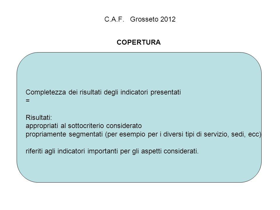 C.A.F. Grosseto 2012 COPERTURA Completezza dei risultati degli indicatori presentati = Risultati: appropriati al sottocriterio considerato propriament
