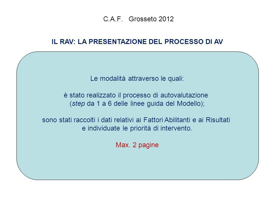 C.A.F. Grosseto 2012 IL RAV: LA PRESENTAZIONE DEL PROCESSO DI AV Le modalità attraverso le quali: è stato realizzato il processo di autovalutazione (s