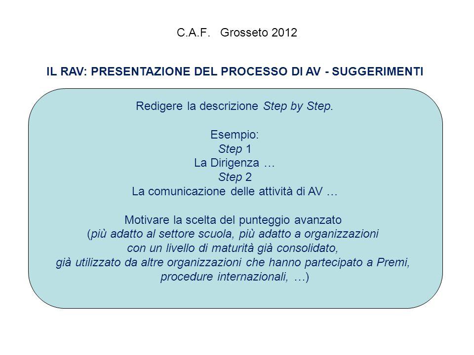 C.A.F. Grosseto 2012 IL RAV: PRESENTAZIONE DEL PROCESSO DI AV - SUGGERIMENTI Redigere la descrizione Step by Step. Esempio: Step 1 La Dirigenza … Step