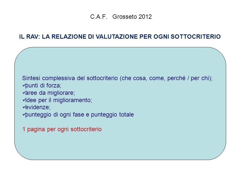 C.A.F. Grosseto 2012 IL RAV: LA RELAZIONE DI VALUTAZIONE PER OGNI SOTTOCRITERIO Sintesi complessiva del sottocriterio (che cosa, come, perché / per ch
