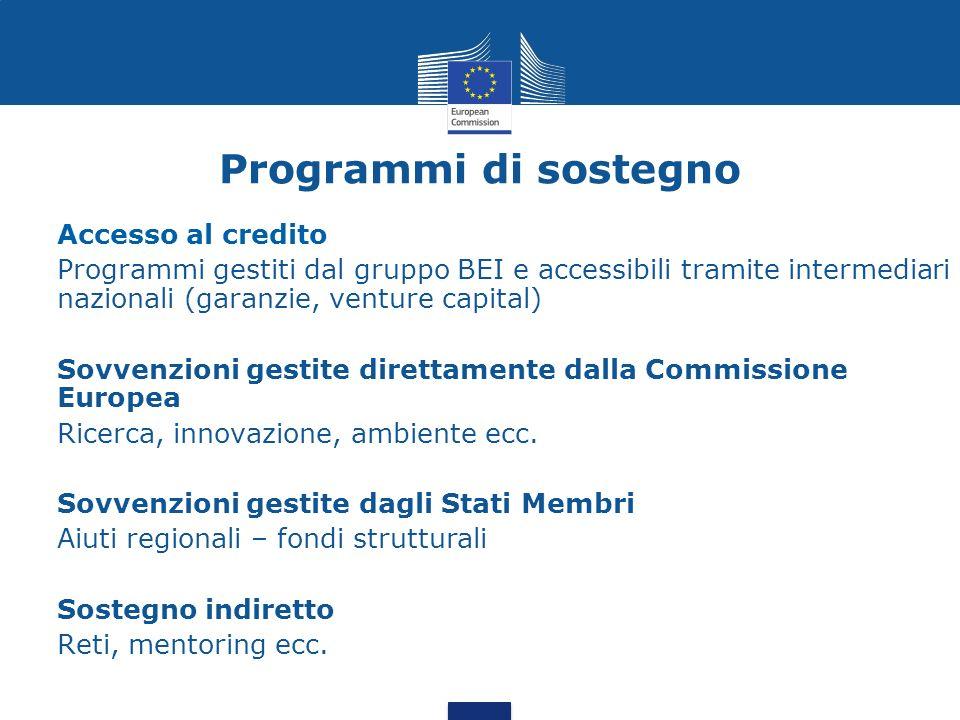 Programmi di sostegno Accesso al credito Programmi gestiti dal gruppo BEI e accessibili tramite intermediari nazionali (garanzie, venture capital) Sov