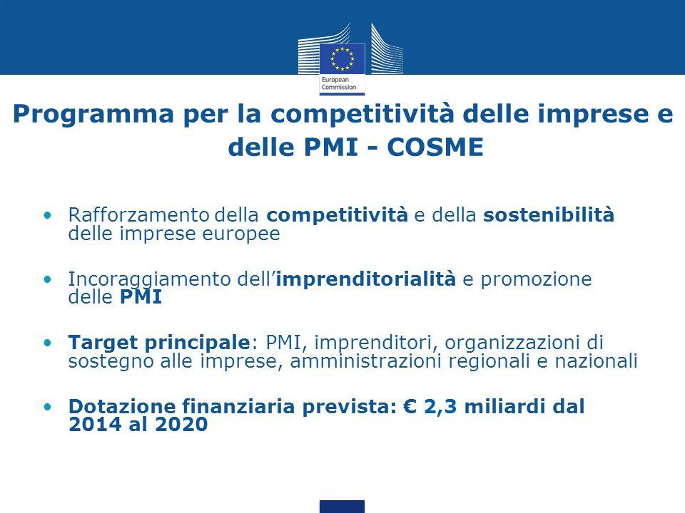 Rafforzamento della competitività e della sostenibilità delle imprese europee Incoraggiamento dellimprenditorialità e promozione delle PMI Target prin