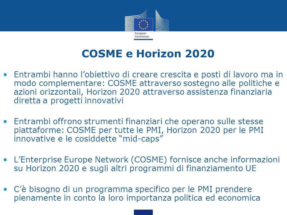 COSME e Horizon 2020 Entrambi hanno lobiettivo di creare crescita e posti di lavoro ma in modo complementare: COSME attraverso sostegno alle politiche