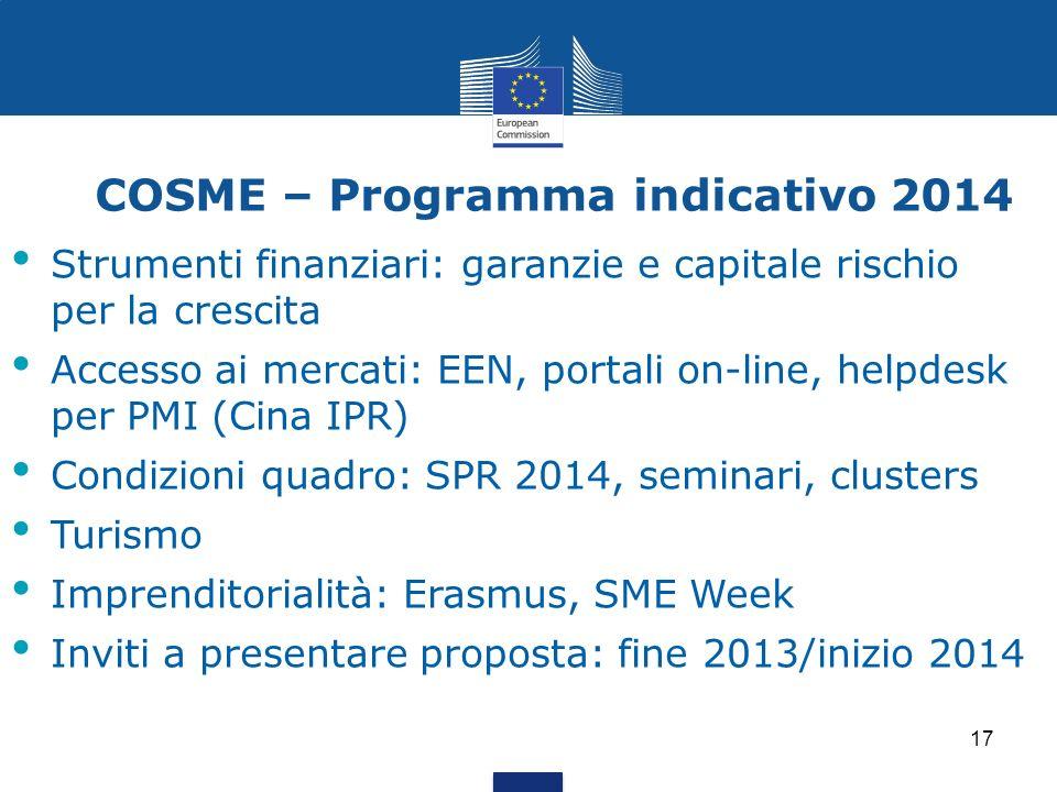 17 COSME – Programma indicativo 2014 Strumenti finanziari: garanzie e capitale rischio per la crescita Accesso ai mercati: EEN, portali on-line, helpd