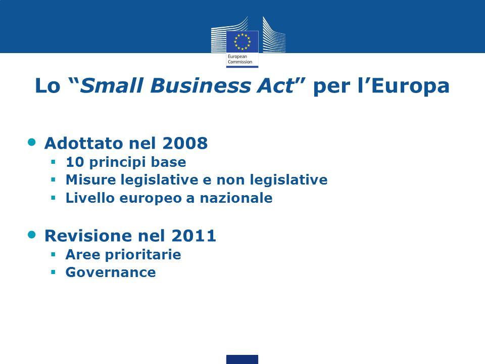 Lo Small Business Act per lEuropa I 10 principi 1.Incoraggiare lo spirito imprenditoriale 2.Dare agli imprenditori una seconda possibilità 3.Le regole devono essere conformi al principio Pensare anzitutto in piccolo 4.Avvicinare le pubbliche amministrazioni alle esigenze delle PMI 5.Facilitare la partecipazione delle PMI agli appalti pubblici e usare meglio le possibilità degli aiuti di Stato per le PMI 6.Agevolare laccesso delle PMI ai finanziamenti 7.Aiutare le PMI a beneficiare delle opportunità offerte dal mercato unico 8.Promuovere laggiornamento delle competenze nelle PMI e laccesso allinnovazione e ai programmi di ricerca 9.Permettere alle PMI di trasformare le sfide ambientali in opportunità 10.Incoraggiare e sostenere le PMI perché beneficino della crescita dei mercati