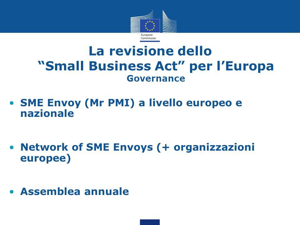 La revisione dello Small Business Act per lEuropa Esempi di azioni Ridurre tempo e costi per start-up Promozione SME Test e riduzione burocrazia Website per programmi di accesso al credito Piano azione per l imprenditorialità Strategia per l internazionalizzazione