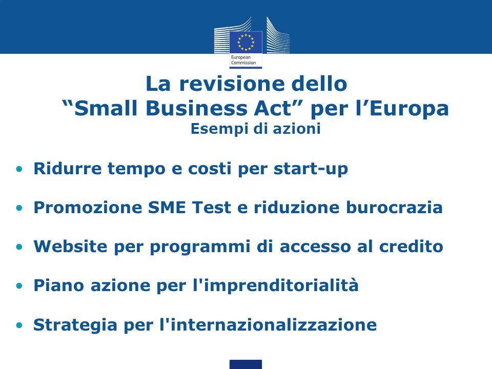La revisione dello Small Business Act per lEuropa Esempi di azioni Ridurre tempo e costi per start-up Promozione SME Test e riduzione burocrazia Websi