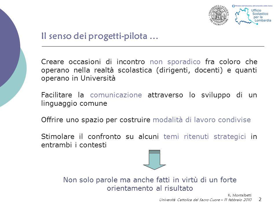 2 Il senso dei progetti-pilota … K.