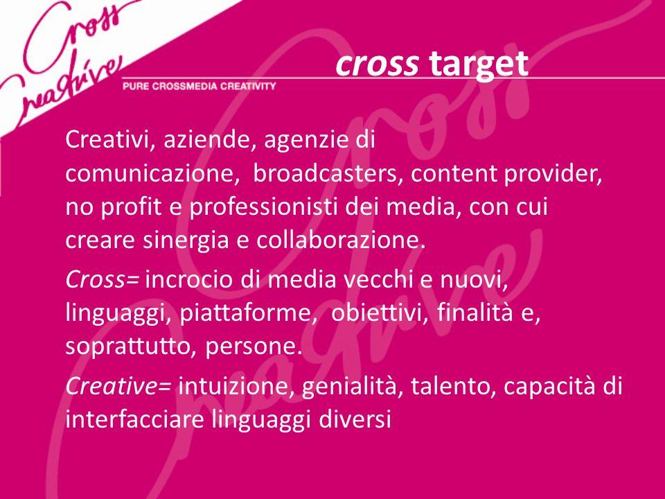 cross target Creativi, aziende, agenzie di comunicazione, broadcasters, content provider, no profit e professionisti dei media, con cui creare sinergia e collaborazione.