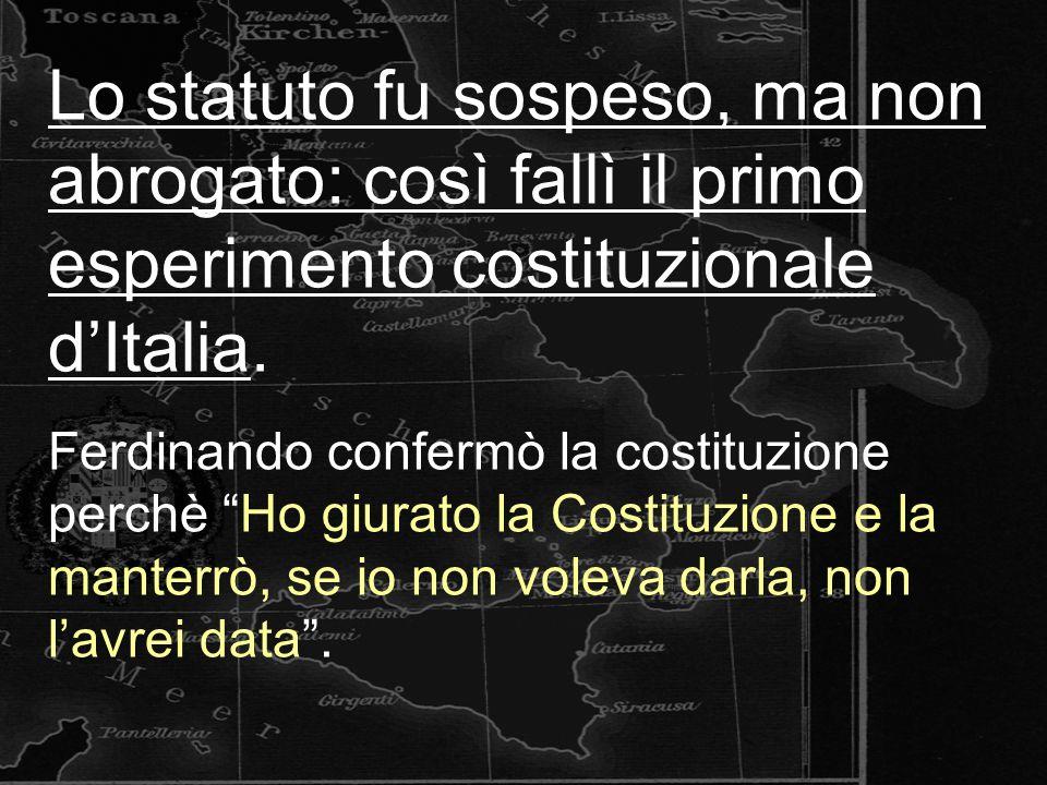 Lo statuto fu sospeso, ma non abrogato: così fallì il primo esperimento costituzionale dItalia.