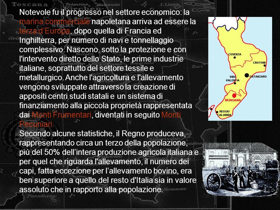 Notevole fu il progresso nel settore economico: la marina commerciale napoletana arriva ad essere la terza dEuropa, dopo quella di Francia ed Inghilterra, per numero di navi e tonnellaggio complessivo.