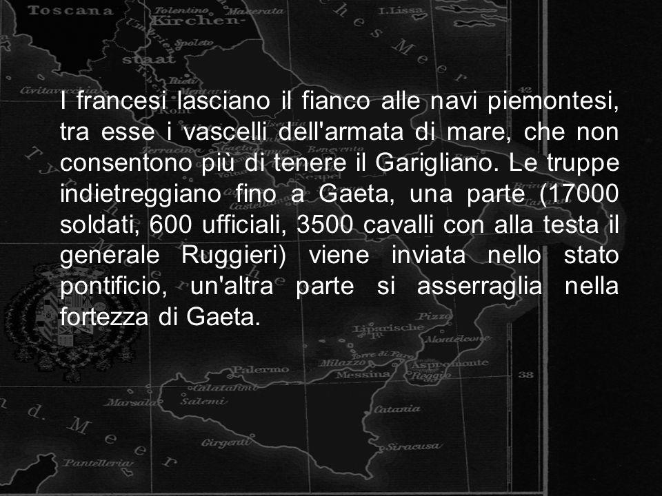 I francesi lasciano il fianco alle navi piemontesi, tra esse i vascelli dell'armata di mare, che non consentono più di tenere il Garigliano. Le truppe